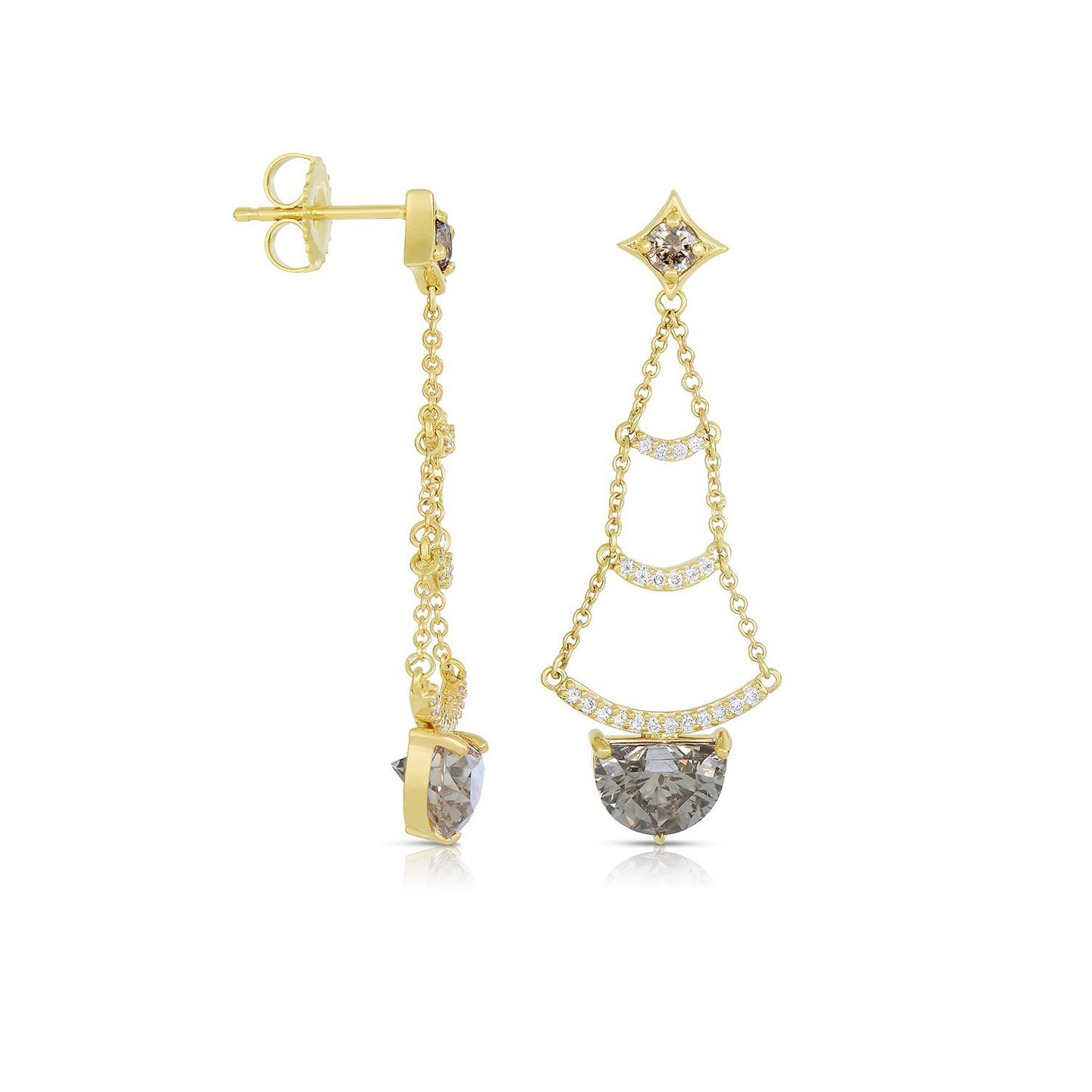 Sabel Collection 14K Yellow Gold Mocha and White Diamond Dangle Earrings