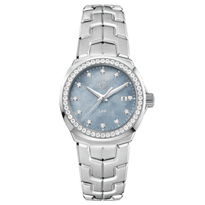 TAG Heuer Ladies' Link Quartz Movement Blue Mother-of-Pearl Dial Watch with Diamond Bezel