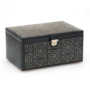 Wolf 1834 Marrakesh Black Leather Large Jewelery Box