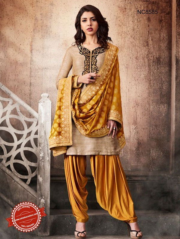 Beige & Yellow Khadi Silk Patiala Suit NC8585
