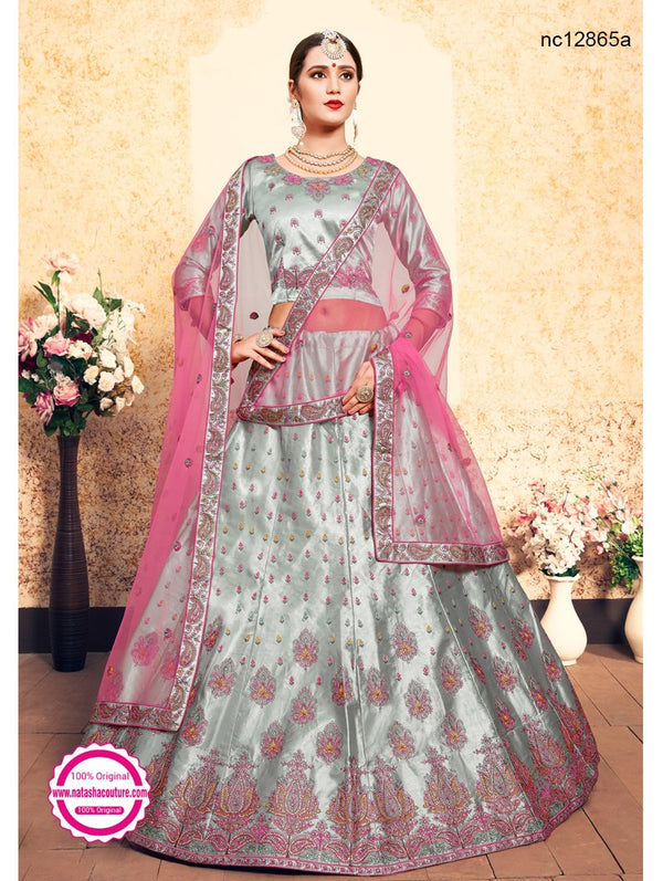 Grey & Pink Satin Lehenga Choli NC12865A