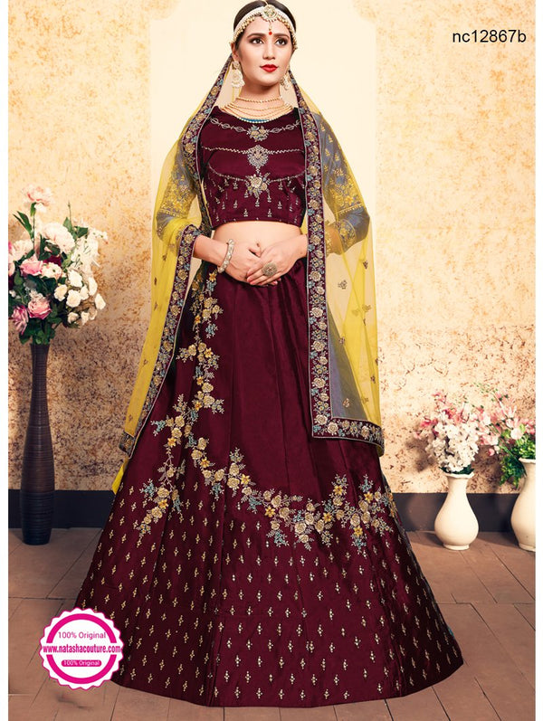 Maroon Satin Wedding Lehenga Choli NC12867B