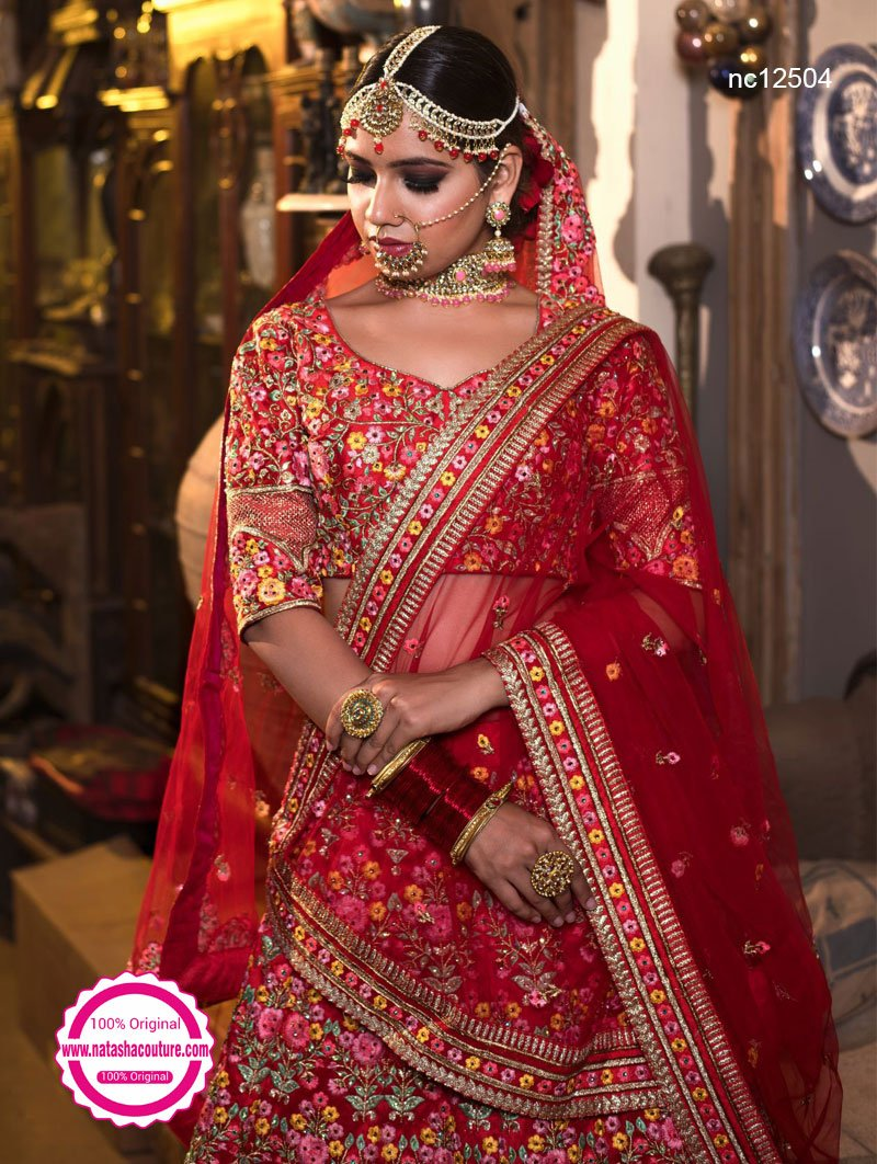 Red Silk Lehenga Choli NC12504