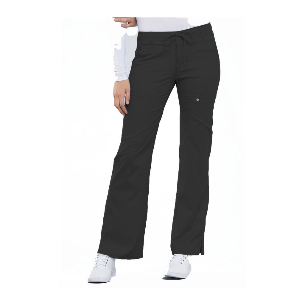 Cherokee Scrub Pants Luxe Contemporary Fit Low Rise Flare Leg Drawstring Cargo Pant Pewter Pant
