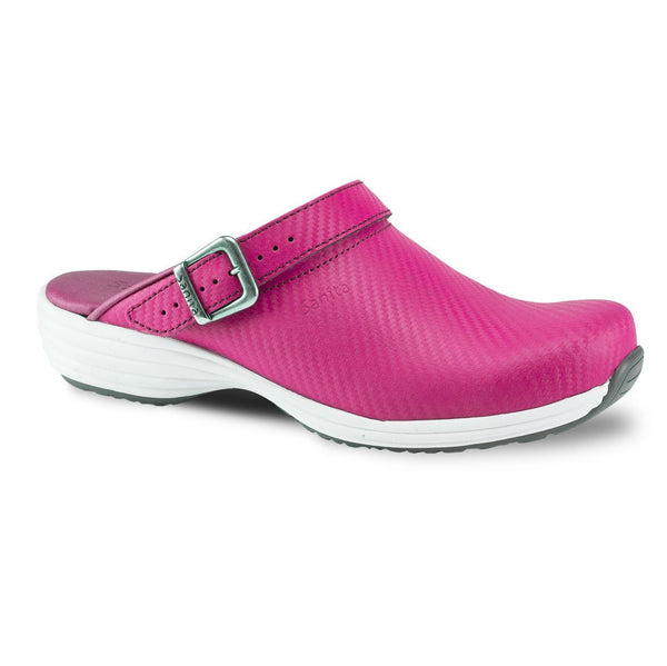 Fuschia / 36 Sanita Wave Leather with Carbon Style Open Heel Shoes