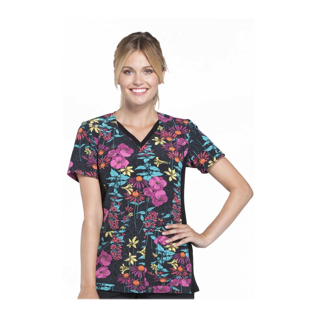 Cherokee Scrub Top All About Spring V-Neck Knit Panel Top Brand New Blooms Top
