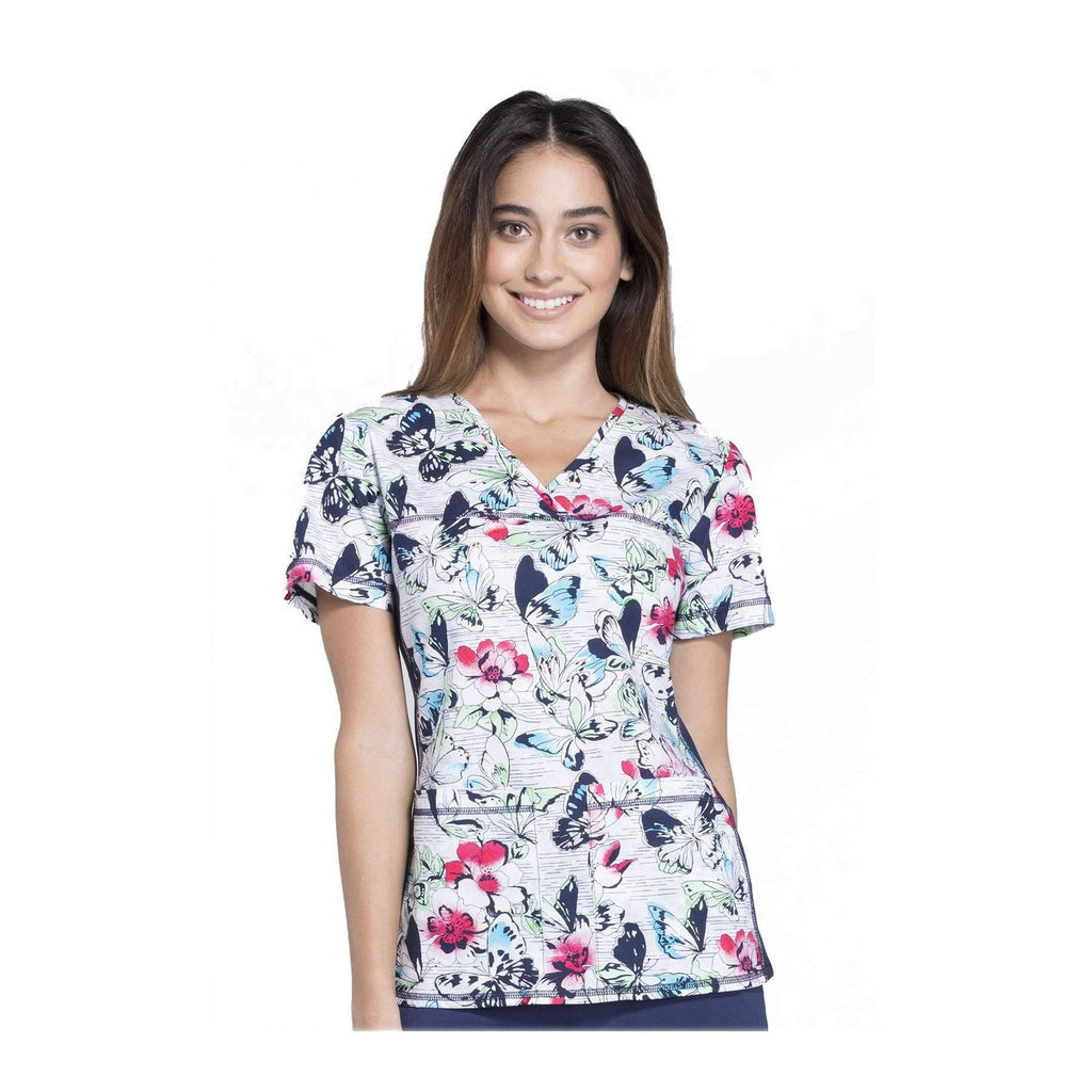 Cherokee Scrub Top Natural Navy V-Neck Knit Panel Top Just Fluttering By Top