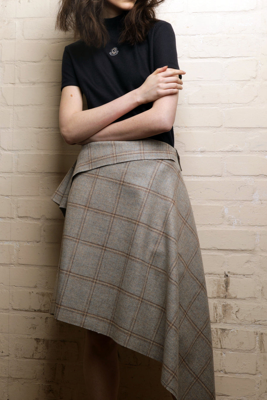 SALLY – DRAPED SQUARE DOUBLE SIDED WOOL SKIRT