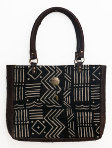 Mudcloth and Leather Medium Tote