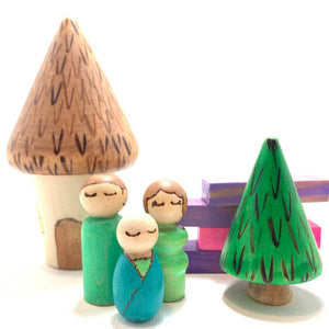 Green Miniature Family, Cottage, and Tree Play Set Wood Toy