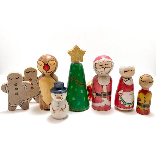Christmas Wood Toys Peg Play Set