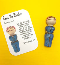 Load image into Gallery viewer, Rosie the Riveter Strong Woman Peg Doll