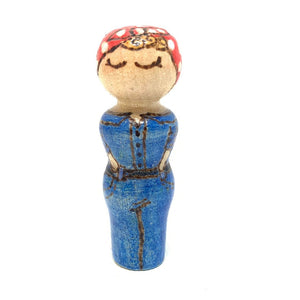 Rosie the Riveter Strong Woman Peg Doll