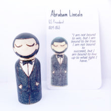 Load image into Gallery viewer, Abraham Lincoln Mighty Man Peg Doll