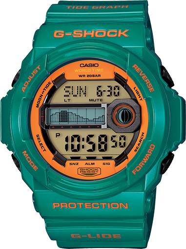 G-Shock Men's Digital Tide Graph Teal Resin Strap Watch 52x55mm GLX150B-3