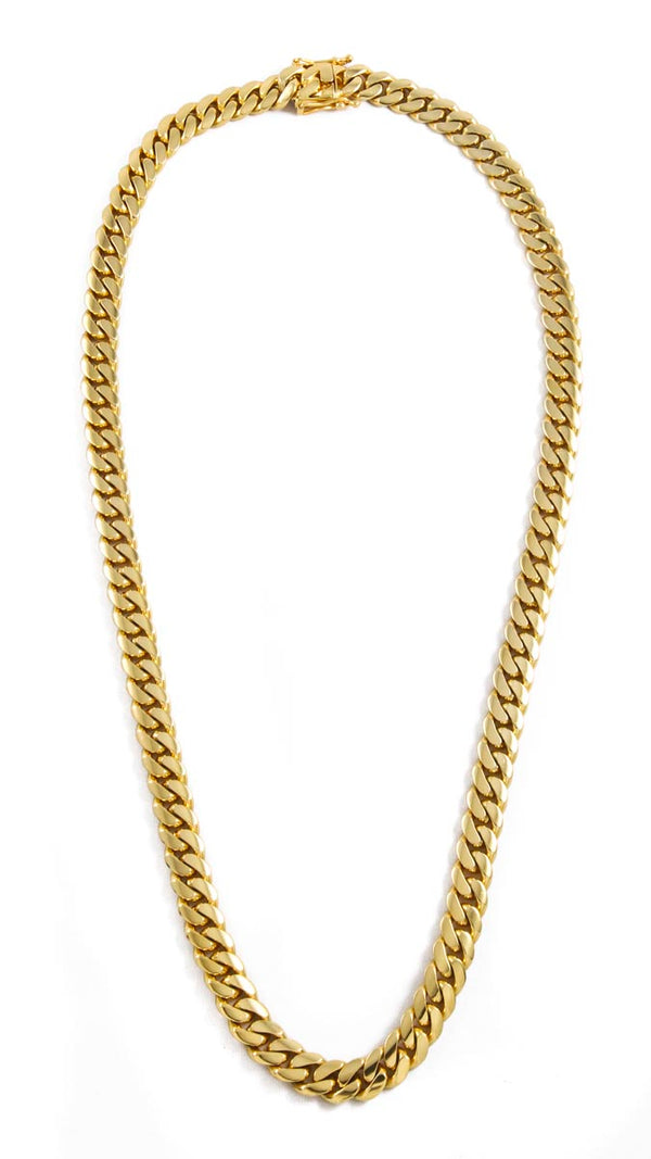 "14k Yellow Gold Miami Cuban Link Chain 26"" 11mm"