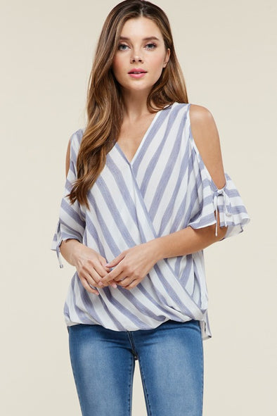 Catherine Cold Shoulder Top-West & Emerald