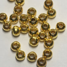 Load image into Gallery viewer, Gold Plated Smooth Round Spacer Beads,  2.5 x 3 mm - 30, 50 or 100 Beads