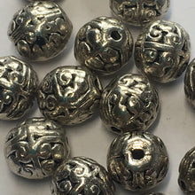 Load image into Gallery viewer, Antique Silver Bali Style Round Beads, 8 x 7 mm - 16 Beads