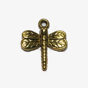 Antique Gold Dragonfly Charm, 18 x 15 mm