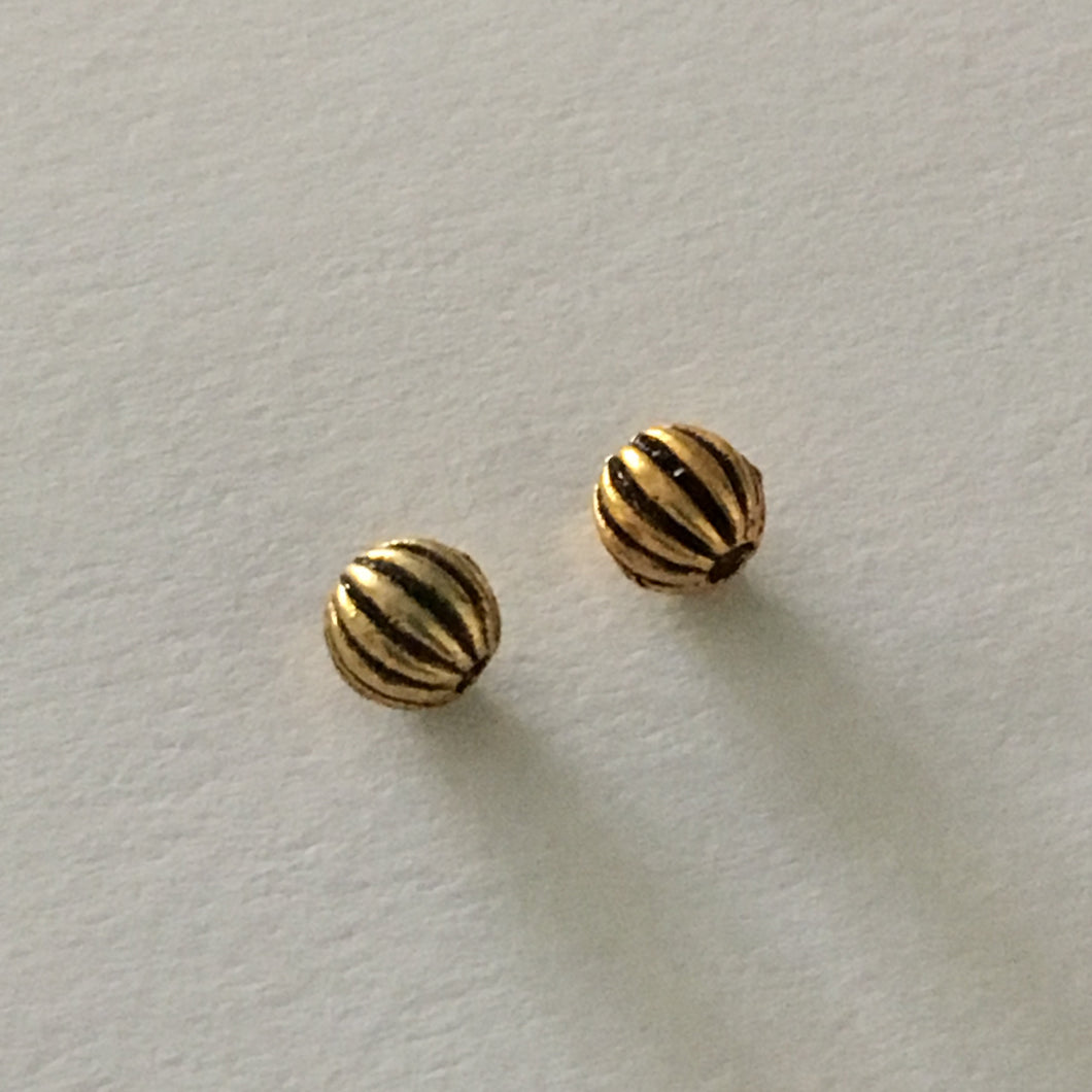 Antique Gold Filled Corrugated Round Beads, 3.5 mm  - 3 Beads