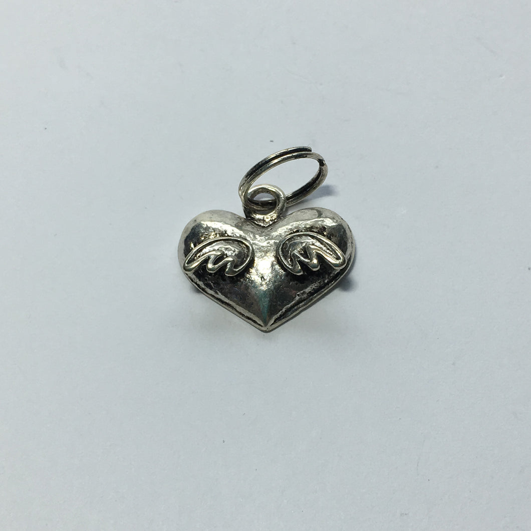 Antique Silver Heart with Wings Charm, 18 x 15 mm