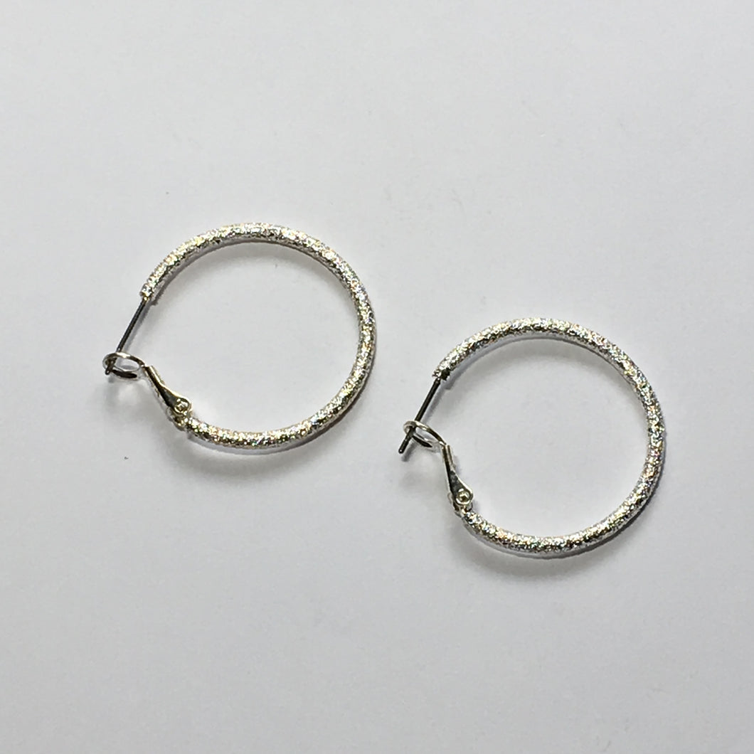 Silver Stardust Lever Back Earring Hoops 30 mm - 1 pair
