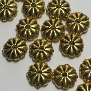Antique Gold Flower Spacer Beads, 7 mm  - 18 Beads
