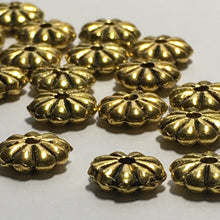 Load image into Gallery viewer, Antique Gold Flower Spacer Beads, 7 mm  - 18 Beads