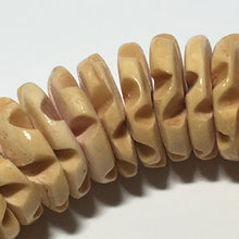 Load image into Gallery viewer, Natural Color Hand Carved Palm Wood Disc/Plate Beads 13 mm round, 2-3 mm Thick, 8-Inch Strand
