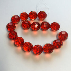 Transparent Red Faceted Round Glass Beads, 14 mm -  16 Beads
