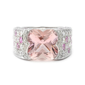 Mauboussin Diamond & Pink Sapphire and Large Morganite Ring / Ring Size: 6