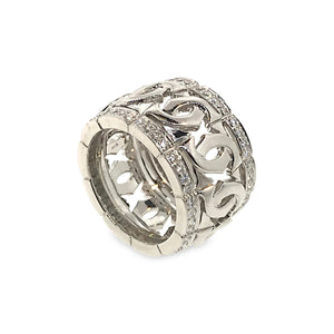 Cartier 18K White Gold Diamond Double C Ring Size: 6