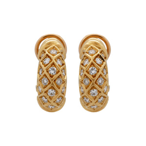 Cartier 18K Yellow Gold Diamond Earrings