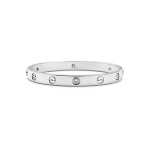 Cartier 18K White Gold 6 Diamond Love Bracelet Size: 16