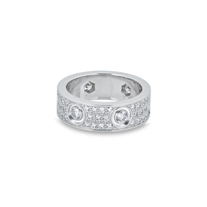 Cartier 18K White Gold Diamond Love Ring Size: 6.25