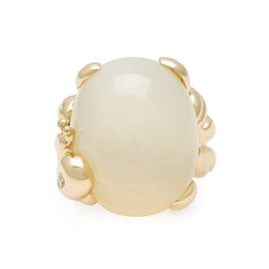 Dior 18KYellow Gold Moonstone Escargot Ring Size: 5.25