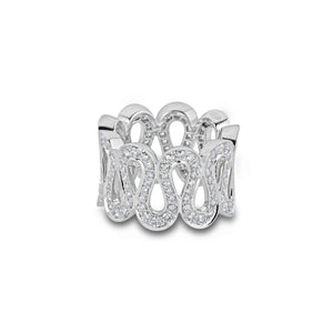 Boucheron 18K White Gold Pave Diamond Ring Size: 5
