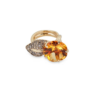 Chanel 18K Yellow Gold Camellia Aquatique, Citrine, and Diamond Ring Size: 4.75