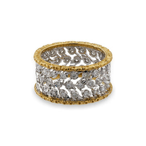 Mario Buccellati 18K Yellow and White Gold Diamond Ring Size 6.25
