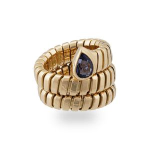 Bvlgari 18K Yellow Gold Amethyst Tubogas Ring Size 4 to 5.50 (Flexible)