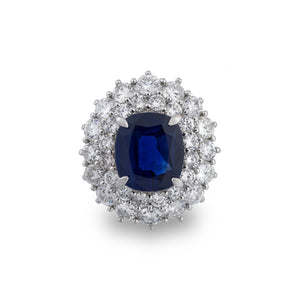 Estate Platinum Diamond & Sapphire Ring Size: 5.75