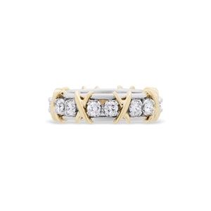 "Tiffany & Co. 18K Yellow Gold & Platinum Diamond ""Schlumberger"" Eternity Ring Size: 6"