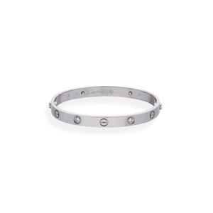 Cartier 18K White Gold 4 Diamond Love Bracelet Size: 17