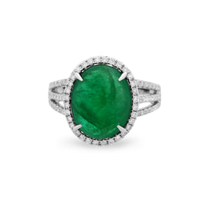 Estate 18K White Gold Diamond and Emerald Ring Size: 6