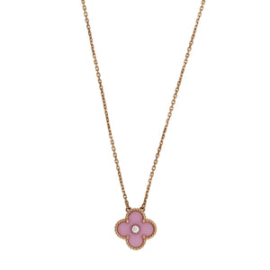 Van Cleef & Arpels 18K Rose Gold Limited Edition Pink Porcelain Vintage Alhambra Necklace Length: 16""