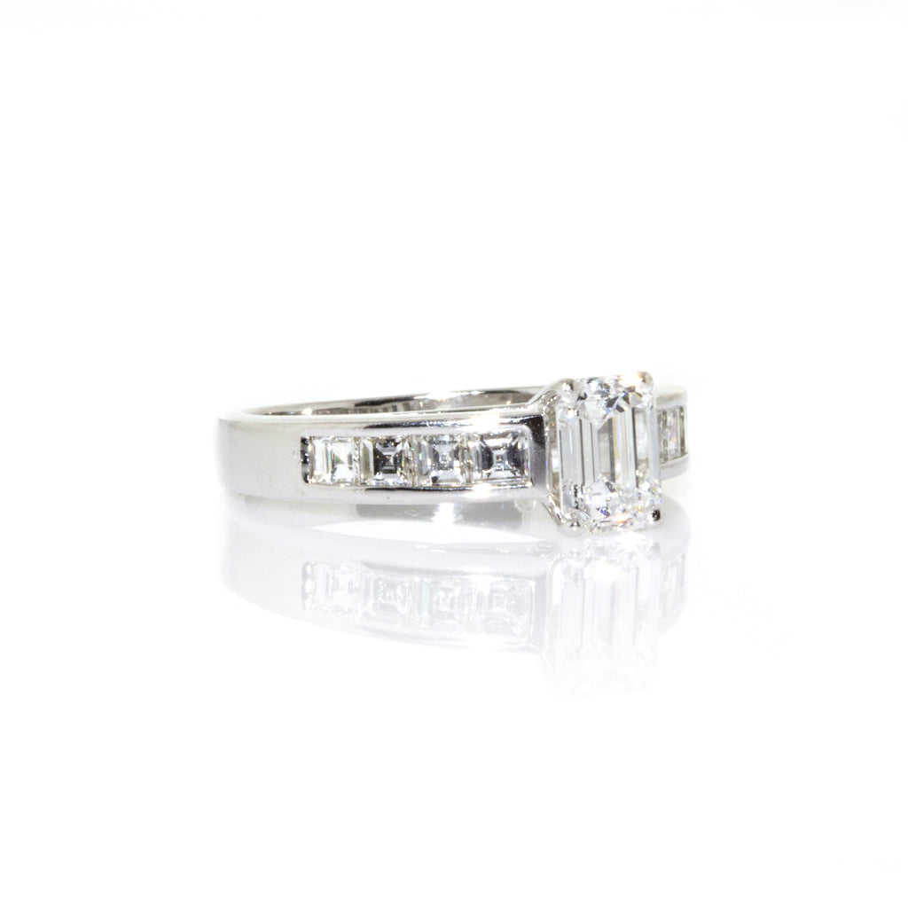 Estate Platinum Certified Emerald Cut Diamond Engagement Ring Size: 6.75