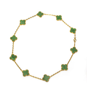 Van Cleef & Arpels 18K Yellow Gold 10 Motifs Malachite Vintage Alhambra Necklace