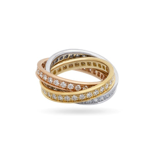 Cartier 18K White, Yellow and Rose Gold Diamond Trinity Ring Size: 6.25