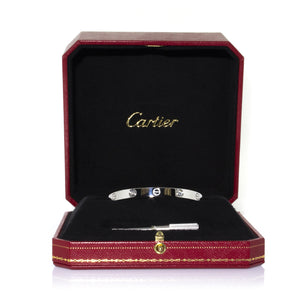 Cartier 18K White Gold with 4 Diamonds Love Bracelet Size: 17cm